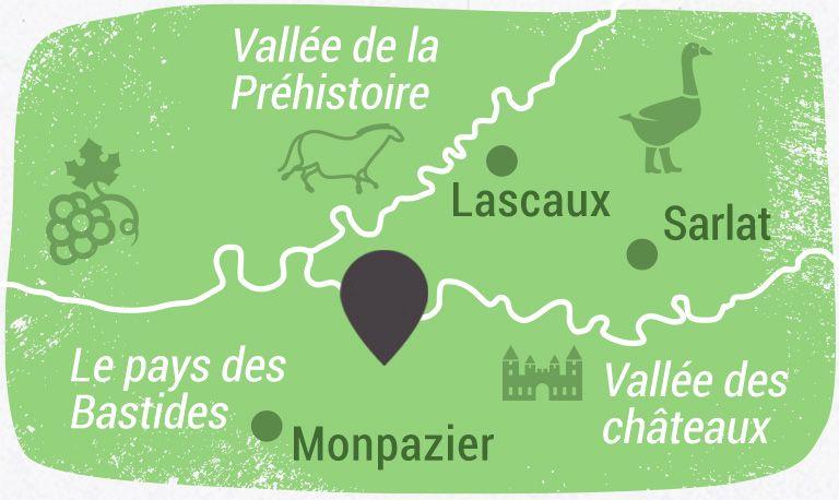 Situation vallée Dordogne et Vézère