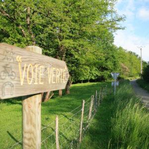 Pancarte de a voie verte à proximité du camping La Lénotte
