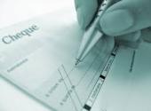 Moyen de paiement : visuel d'un chèque bancaire